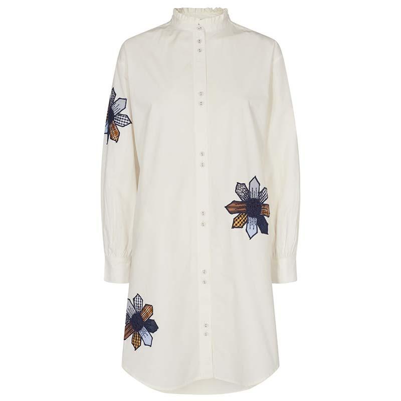 Nümph skjorte, Nubelinde shirt Cloud Dancer, Front Numph skjortekjole