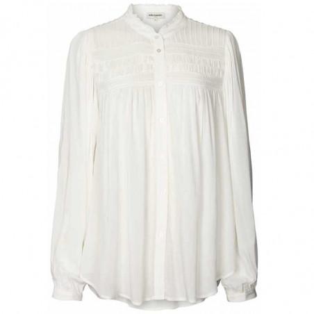 Lollys Laundry Skjorte, Cara, Creme, Shirt, Bluse, Hvid, Flæser, Knapper