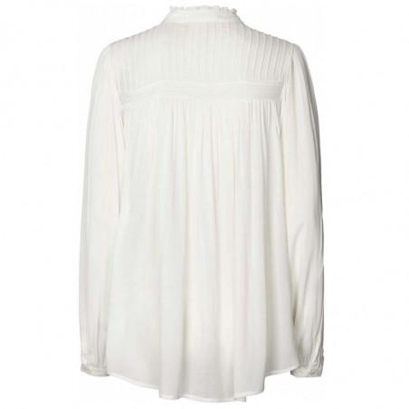 Lollys Laundry Skjorte, Cara, Creme, Shirt, Bluse, Hvid, Flæser, Knapper, Bagside