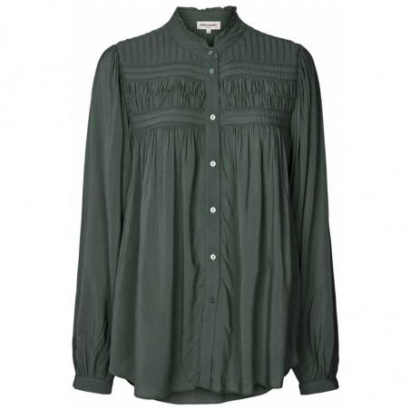 Lollys Laundry Skjorte, Cara, Dusty Green, Shirt, Bluse, Ballonærmer, Viskose, Kinakrave