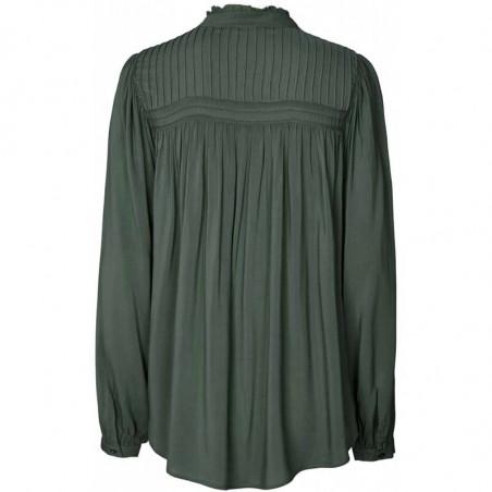Lollys Laundry Skjorte, Cara, Dusty Green, Shirt, Bluse, Ballonærmer, Viskose, Kinakrave, Bagside