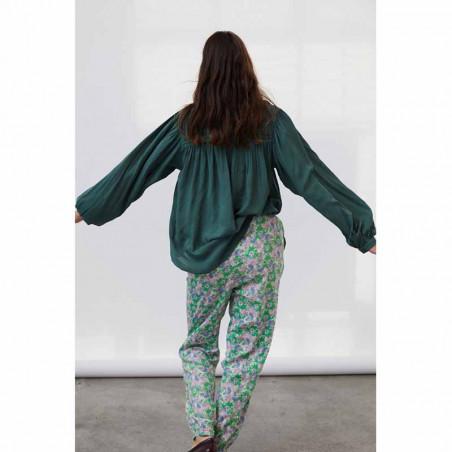 Lollys Laundry Skjorte, Cara, Dusty Green, Shirt, Bluse, Ballonærmer, Viskose, Kinakrave, Detalje