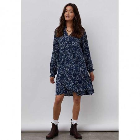 Lollys Laundry Kjole, Sami, Blue, Blå, Mønstret, V-udskæring, Lag, Model