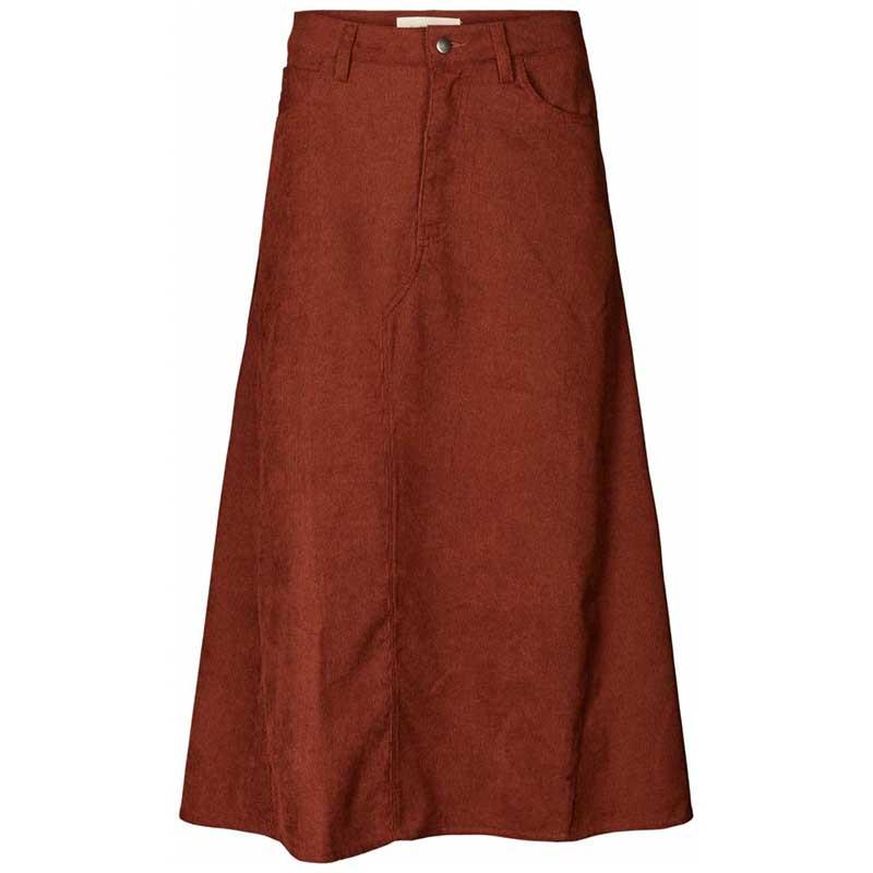 Lollys Laundry Nederdel, Melina, Rust, Skirt, Fløjlsnederdel, Midi-skirt