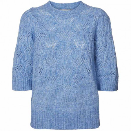 Lollys Laundry Bluse, Mala, Light Blue, Strik, Sweater, Trøje, Pullover, Hulstrik, Lyseblå