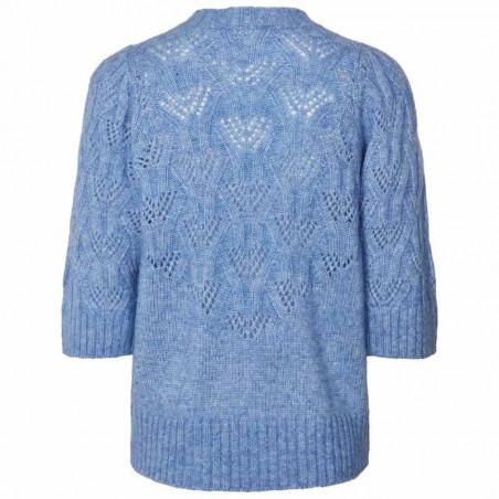 Lollys Laundry Bluse, Mala, Light Blue, Strik, Sweater, Trøje, Pullover, Hulstrik, Lyseblå, Bagside