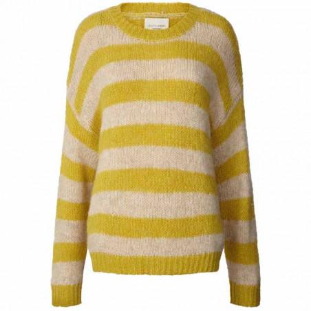 Lollys Laundry Strik, Terry, Yellow, Trøje, Sweater, Jumper, Pullover, Striber, Gul