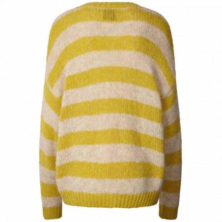 Lollys Laundry Strik, Terry, Yellow, Trøje, Sweater, Jumper, Pullover, Striber, Gul, Bagside