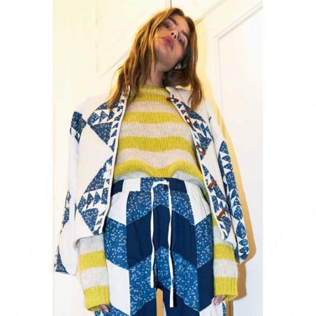 Lollys Laundry Strik, Terry, Yellow, Trøje, Sweater, Jumper, Pullover, Striber, Gul, Model