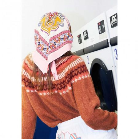 Lollys Laundry Strik, Lana Jumper, Mauve, Sweater, Trøjer, Pullover, Fair Isle, Koral, Detalje