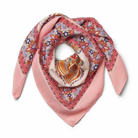 Lollys Laundry Tørklæde, Cora, Light Pink, Scarf, Accessories, Mønstret, Rosa, Orange
