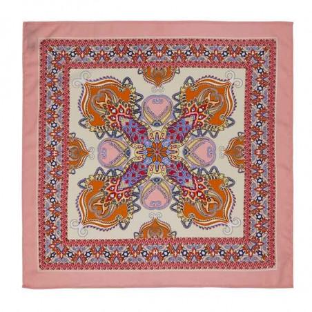 Lollys Laundry Tørklæde, Cora, Light Pink, Scarf, Accessories, Mønstret, Rosa, Orange, Firkantet