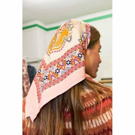 Lollys Laundry Tørklæde, Cora, Light Pink, Scarf, Accessories, Mønstret, Rosa, Orange, Model Bagfra
