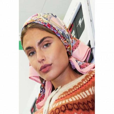 Lollys Laundry Tørklæde, Cora, Light Pink, Scarf, Accessories, Mønstret, Rosa, Orange, Model Forfra