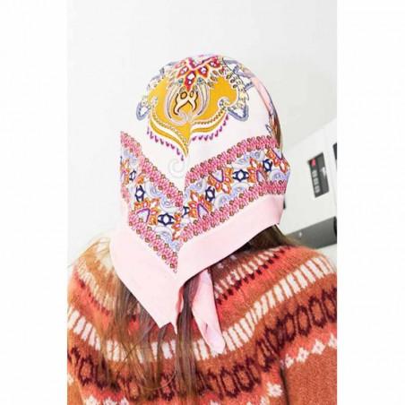 Lollys Laundry Tørklæde, Cora, Light Pink, Scarf, Accessories, Mønstret, Rosa, Orange, Model Detalje