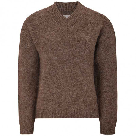 Soft Rebels Strik, SRStinne V-Neck, Shaved Chocolate, Sweater, Trøje, Pullover, V-udskæring, Brun