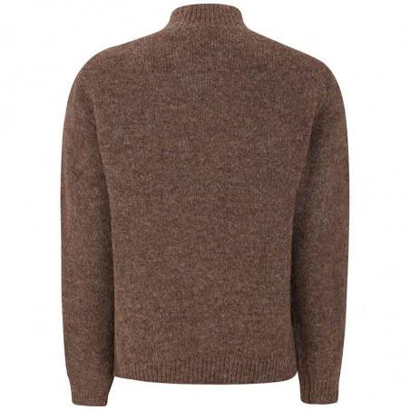 Soft Rebels Strik, SRStinne V-Neck, Shaved Chocolate, Sweater, Trøje, Pullover, V-udskæring, Brun, Bagside