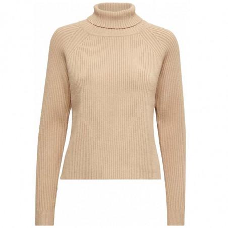 Minus Strik, Ava Turtleneck, Light Apricot, Trøje, Rullekrave, Sweater, Pullover, Beige, Ribstrik