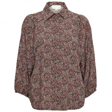 Minus Skjorte, Anina, Lipstick Red Flower Print, Bluse, Top, Blomsterprint, Knapper, Orange, Rød