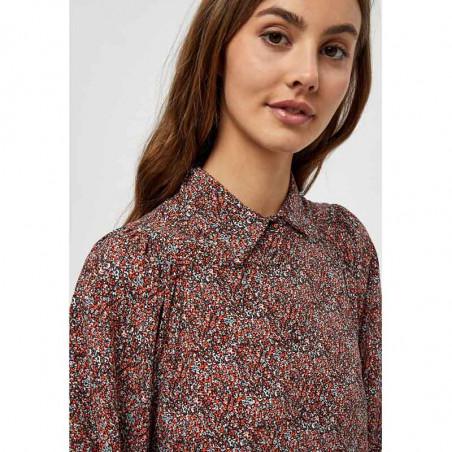 Minus Skjorte, Anina, Lipstick Red Flower Print, Bluse, Top, Blomsterprint, Knapper, Orange, Rød, Model Detalje