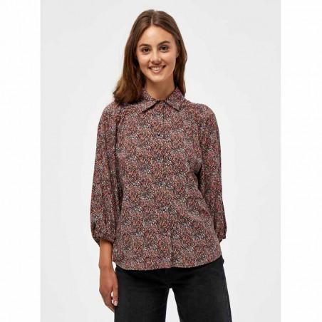 Minus Skjorte, Anina, Lipstick Red Flower Print, Bluse, Top, Blomsterprint, Knapper, Orange, Rød, Model