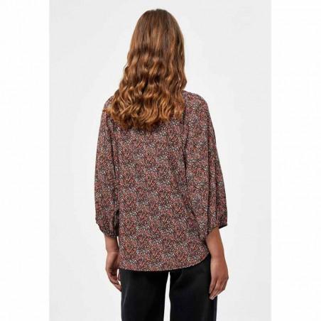 Minus Skjorte, Anina, Lipstick Red Flower Print, Bluse, Top, Blomsterprint, Knapper, Orange, Rød, Model Bagside