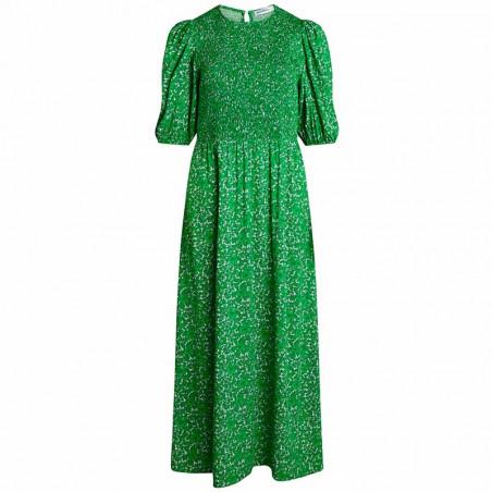 Co'Couture Kjole, Field Flower Smock Dress, Green, Grøn, Blomstret, Blomsterprint, Midi, Mellemlang