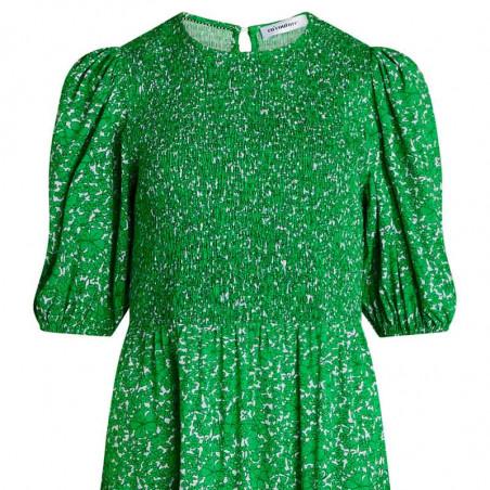 Co'Couture Kjole, Field Flower Smock Dress, Green, Grøn, Blomstret, Blomsterprint, Midi, Mellemlang, Detalje