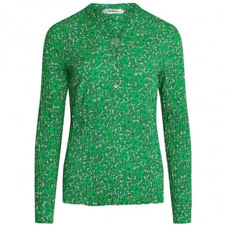 Co'Couture Skjorte, Coco Field Flower, Green, Bluse, Top, Grøn, Blomstret, Blomsterprint