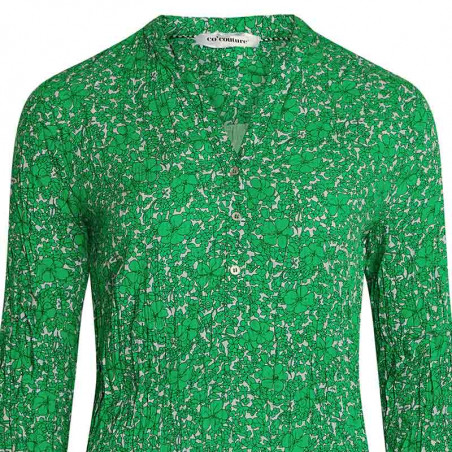 Co'Couture Skjorte, Coco Field Flower, Green, Bluse, Top, Grøn, Blomstret, Blomsterprint, Detalje