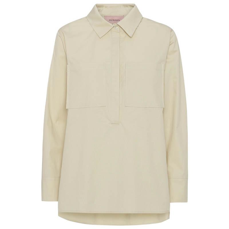Hunkøn Skjorte, Malia, Cream, Bluse, Lommer, Shirt, Beige