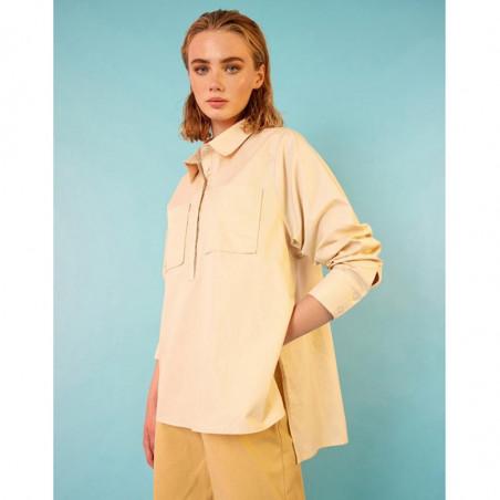 Hunkøn Skjorte, Malia, Cream, Bluse, Lommer, Shirt, Beige, Model