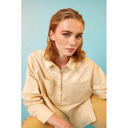 Hunkøn Skjorte, Malia, Cream, Bluse, Lommer, Shirt, Beige, Detalje