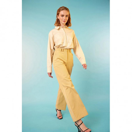 Hunkøn Skjorte, Malia, Cream, Bluse, Lommer, Shirt, Beige, Outfit