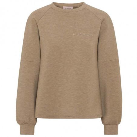 Hunkøn Sweatshirt, Sara, Melange Brown, Trøje, Pullover, Hoodie, Crewneck, Brun, Joggingsæt