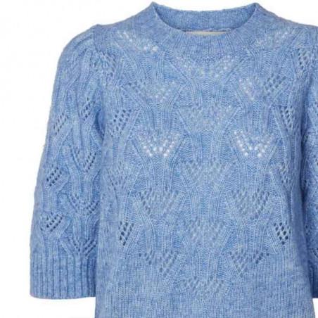 Lollys Laundry Bluse, Mala, Light Blue, Strik, Sweater, Trøje, Pullover, Hulstrik, Lyseblå strikbluse detalje