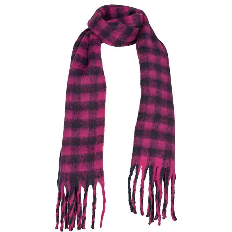 Nümph Tørklæde, Nukitten Check, Dark Sapphire Numph halstørklæde med pink tern