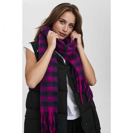Nümph Tørklæde, Nukitten Check, Dark Sapphire, Model
