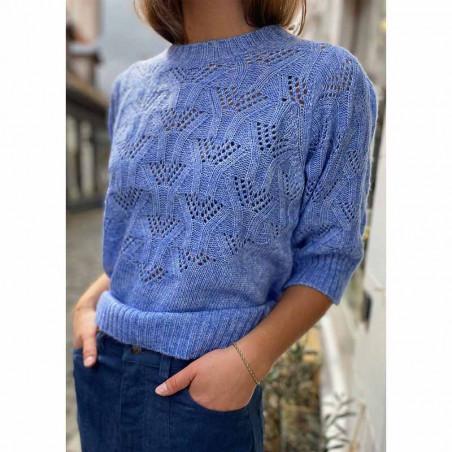 Lollys Laundry Bluse, Mala, Light Blue, Strik, Sweater, Trøje, Pullover, Hulstrik, Lyseblå strikbluse på model