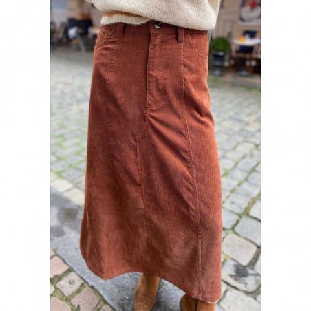 Lollys Laundry Nederdel, Melina, Rust, Skirt, Fløjlsnederdel, Midi-skirt på model